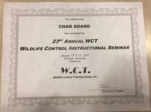 WCT Seminar Certificate for Chad Soard