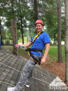 Chad Soard while attending pitched roof rope access training