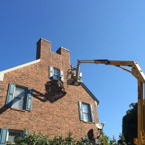 Trifecta Wildlife Services' Owner Chad Soard on an aerial lift completing a bat exclusion