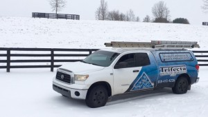 The Trifecta Wildlife Services truck out in a central KY snowfall