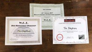 Tim Stephan's 2018 WCT Certificates